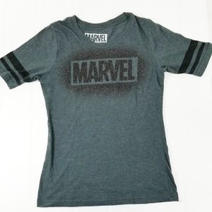 Marvel Grey Fitted Spell Out Logo T-Shirt E36